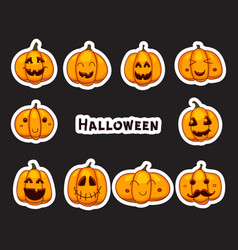 Halloween pumpkins stickers part of great vector