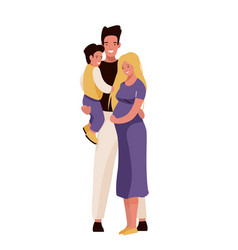 happy family mom dad and son vector image