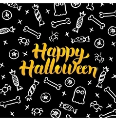 Happy Halloween Black Gold Postcard vector image
