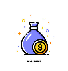 icon of money bag with dollar coin for investment vector image