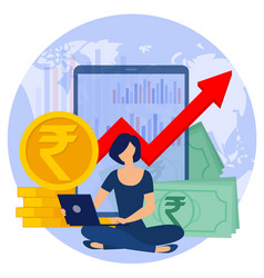 indian rupee business concept vector image