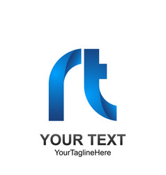 initial letter rt logo template colored blue vector image