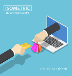Isometric businessman hand use credit card to vector