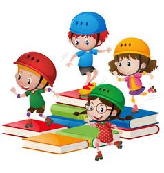 Kids rollerskate on big books vector