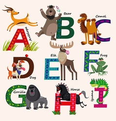 Kids Zoo alphabet with animals vector image