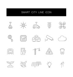 line icons set smart city pack vector image