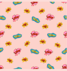 love cool stickers youth seamless pattern vector image