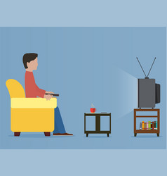 man watching old television on sofa vector image