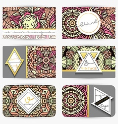 Mandala Business card with ornament handmade in vector image