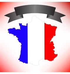 Map of France and Black Ribbon vector