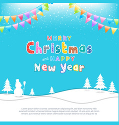 merry christmas banner poster template with vector image