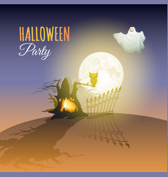 moon ghost owl tree and words halloween party vector image