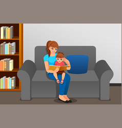 Mother reading to her daughter at home vector