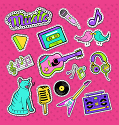 musical stickers badges and patches vector image