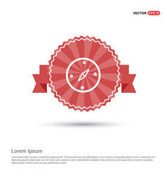 navigation compass icon - red ribbon banner vector image