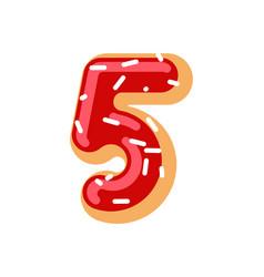 Number 5 donut doughnut font five sweet alphabet vector