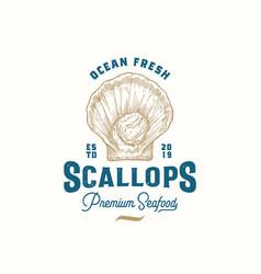 Ocean fresh scallops abstract sign symbol vector