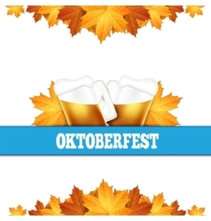 Oktoberfest greeting card Poster with mug of beer vector