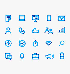 Online blue communication round icon set vector
