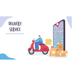 Online delivery service deliver product to vector