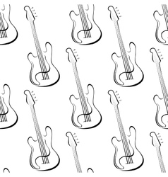 Outline electric guitars seamless pattern vector image