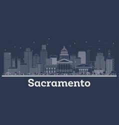 Outline sacramento california city skyline with vector