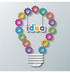 paper gear light bulb vector image