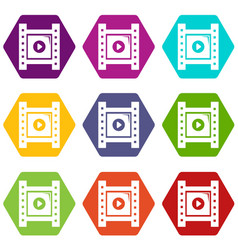 play film strip icons set 9 vector image