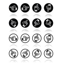 Pointing hand - up down across round icon vector image