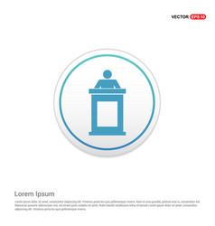 presentation icon - white circle button vector image