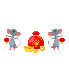 rats mice with golden ingot and coins happy new vector image