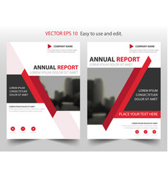 red abstract triangle annual report leaflet vector image