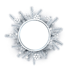 Round background with white christmas wreath vector