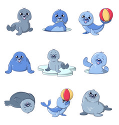 seal pups cute character icons set cartoon style vector image