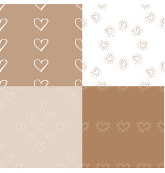 Seamless pattern with hearts decoupage vector