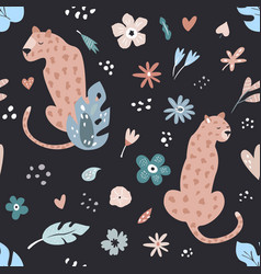 seamless pattern with leopards and floral prints vector image