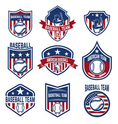Set baseball emblems baseball tournament vector