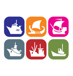set icons with images different ships vector image