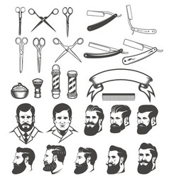 set of barber tools mans heads design elements vector image