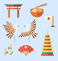 set of japanese culture symbols icons elements vector image
