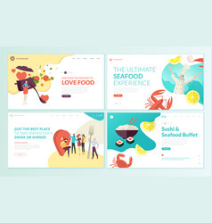 set web page design templates for food vector image