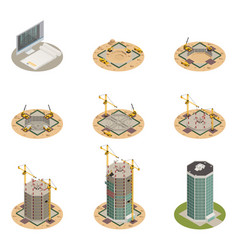 Skyscraper construction isometric set vector