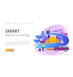 Smart roads construction concept landing page vector