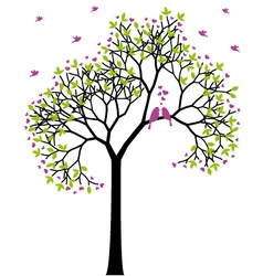 spring tree with love birds vector image