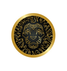 The geometric lion logo in a round coin vector