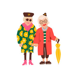 two old ladies wearing qute fashomable clothes vector image