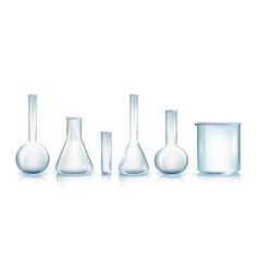 types of laboratory glassware realistic vector image