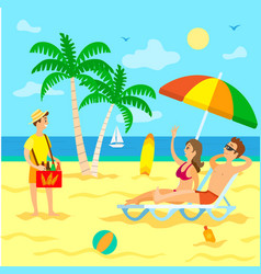 vacation and traveling exotic beach and sea shore vector image