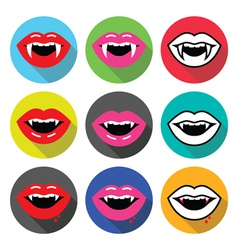 Vampire mouth vampire teeth flat design icons vector image