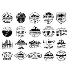 Vintage camp logo bundle mountain badges set vector